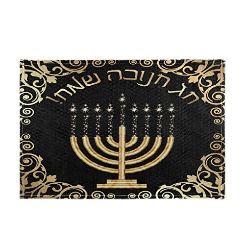 vvfelixl Happy Hanukkah Gold Floral Decoration Set of 1 Placemat 18'X12' Table Mats Cloth Kitchen Linen Sets Linen-Like Heat-Resistant Dining Home Decorations Everyday Use