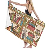 HiExotic Nerd Book Lover Kitty Sleeping Over Bookshelf in Library Beach Towels,Travel Towel,Camping Towel, Gym Towel, Sports Towel, Swimming Towel Oversized 31x51