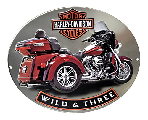Harley-Davidson Wild & Three Motorcycle Embossed Tin Sign, 15.75 x 13 in 2011341