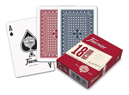 Fournier- nº18 Baraja de Cartas Poker Clasica,  Color Azul/Rojo (174007)