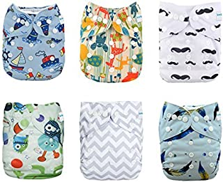 Babygoal Baby Cloth Diapers, One Size Reusable Washable Pocket Cloth Diaper, baby boy clothes,6pcs Diapers+ 6pcs Microfiber Inserts+4pcs Bamboo Inserts 6FB17