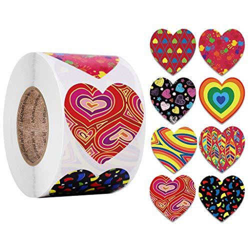NAIXUE 500 pegatinas con forma de corazón para día de San Valentín para álbumes de recortes, regalo de cumpleaños, boda, suministros de papelería, regalo de embalaje