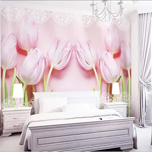 Cczxfcc 3D Pinktulip bloemenprint fotobehang Murals behang voor woonkamer bank tv achtergrond bloemen behang wanddecoratie 200 x 140 cm.