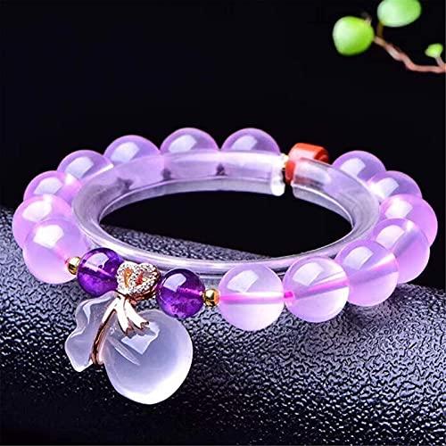 Pulsera china Pulsera hecha a mano Feng Shui Pulsera de la riqueza Feng Shui, pulsera de cristal de cuarzo natural de color rosa con adornos de bolsa de dinero, cura de cristal atrae afortunado amor r