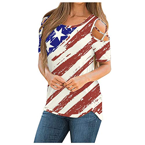 XUEBing 4 de julio - Blusa de manga corta con hombros descubiertos para mujer