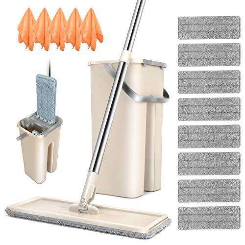 Masthome Wischmopp Set mit Eimer,2 in 1 Flach-Mopp und Putzeimer mit 120cm Stiel Edelstahl,Wischer Set mit 8 Mikrofaser Pads Wischsystem für Bodenreinigung Hergeben 5 Mikrofasertücher