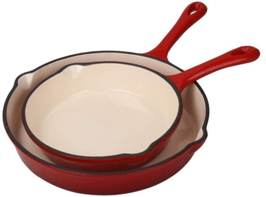 AMYZ Pot en Émail Pot Shabu-shabu Poêle à Frire Poêle Non Revêtue Une Poêle À Longue Poignée Antiadhésive Poêle en Fer Plat,16cm 20cm