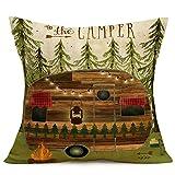Happy Travel Rv Remolque Fundas de almohada decorativas de árbol de pino, hoguera, flecha, fundas de almohada para acampar, aventura temática, decoración para el hogar al aire libre, 45,7 x 45,7 cm
