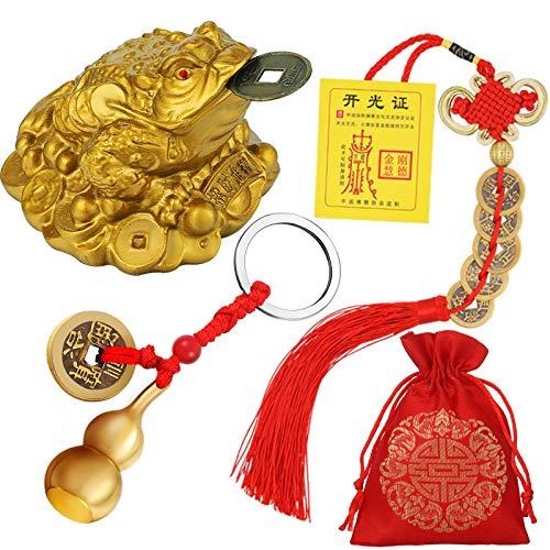 3 Ranas de Monedas de Feng Shui Monedas de Suerte de Nudo Chino Wu Lou de Latón de Feng Shui con Llaveros de Monetas para Seguridad Riqueza Suerte con 1 Tarjeta de Bendición y 1 Bolsa Roja