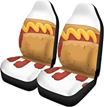 Pinbeam Car Seat Covers Wiener Hot Dog Cartoon Character American Ballpark Bratwurst Bun Set of 2 Auto Accessories Protectors Car Decor Universal Fit for Car Truck SUV