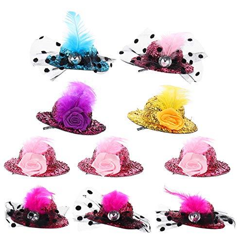 TOYANDONA 10 Stück Mini Hut Haarspange Mini Zylinder Fascinator Hüte Clip Glitzer Mädchen Haarspange mit Feder Haar Haarspange Haar Haarnadel Geschenke für Kinder Baby Mädchen Urlaub Party