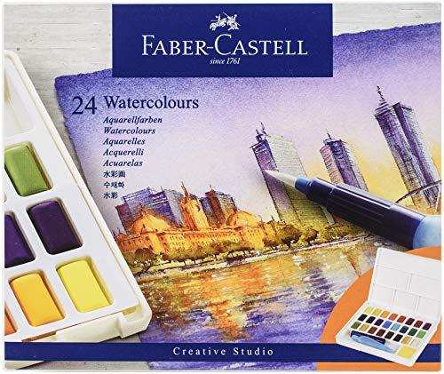 Faber-Castell 169724 Aquarellfarben in Näpfchen, mit Mischpalette und Wassertankpinsel, 24er Etui