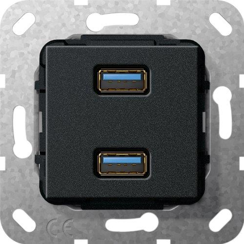 Gira 568410 USB 3.0 A 2 Fach Gender Changer Einsatz, schwarz matt