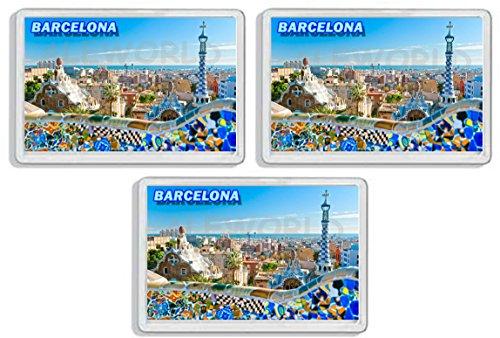 AWS Set di 3 Magneti in PVC Rigido Barcellona Barcelona Spagna Spain Souvenir calamita Fridge Magnet Magnete da frigo in plastica Dura con Immagine Fotografica Città ricordo Vacanza (7,8_x_5,2_cm)