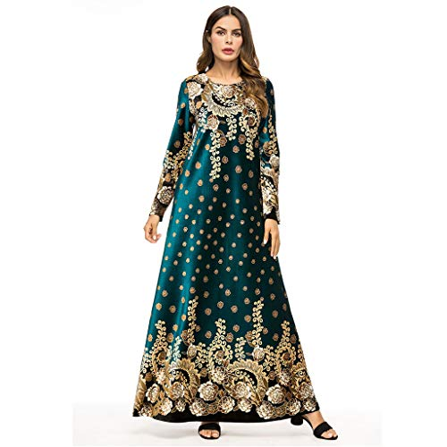 ZEELIY Muslimische Kleider Damen Elegant Abaya Muslim Frauen islamische Kleidung Arabische Maxikleid Langarm Muslim Dubai Ramadan Hijab Kleider