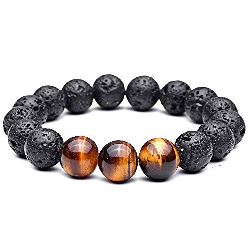 Lion & Son Lava-Armband Tigeraugen-Perlen Buddha-Armband Herren-Schmuck Braun Schwarz, 18 cm