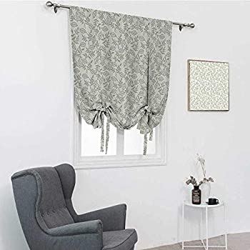 Grey Decor Window Shades Nature Featured Oak Tree Leaves with Repeating Curve Lines Feminine Home Decor Tie Up Window Shade Light Green 48  x 64