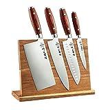 5pc Cuchillo de cocina Set Cleaver + Chef + Santoku + Utilidad + Cuchillo magnético Holder Herramienta de cocina de acero inoxidable Cuchillos de cocinero