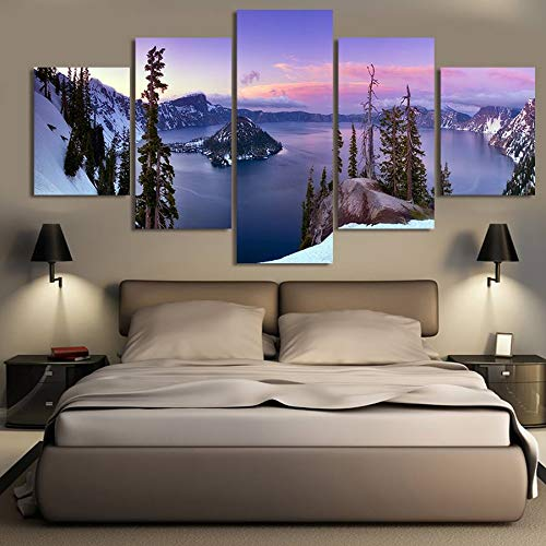 WGWNYN Póster de Lienzo Modular para Sala de Estar Decorativo para el hogar 5 Piezas bellamente Pinturas de paisajes Cuadros Arte de Pared sin Marco 40x60 40x80 40x100cm