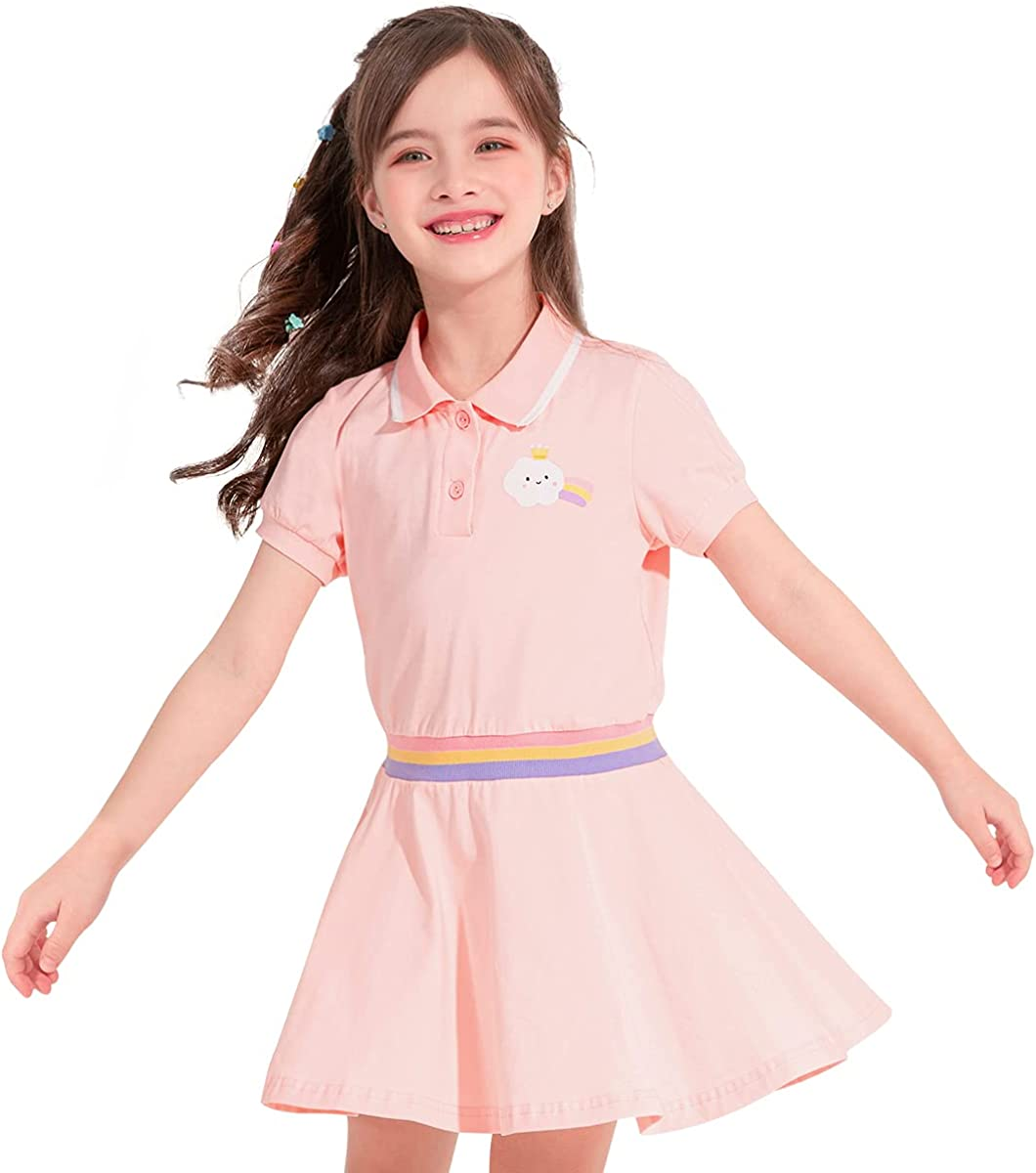 60s 70s Kids Costumes & Clothing Girls & Boys cicie Girls Summer Cotton Casual Cute Princess Short Sleeve Dresses for School Party for 3-9 Years Kids  AT vintagedancer.com