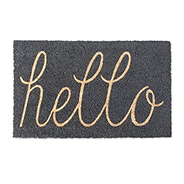 DII Indoor/Outdoor Natural Coir Easy Clean Rubber Non Slip Backing Entry Way Doormat For Patio, Front Door, All Weather Exterior Doors, 18 x 30 - Gray Hello