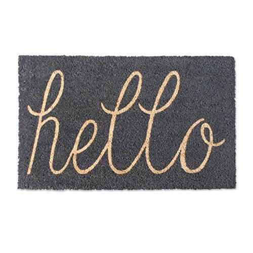 """DII Indoor/Outdoor Natural Coir Easy Clean Rubber Non Slip Backing Entry Way Doormat For Patio, Front Door, All Weather Exterior Doors, 18 x 30"""" - Gray Hello"""