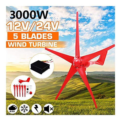 GJZhuan 3000W 5 Blades Wind Turbines Generator 12V/24V Option with Wind Controller for Home Camping Streetlight Mounting Accessorie (Color : 24V)