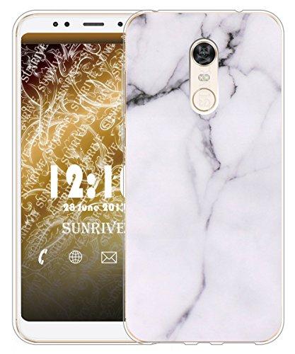Sunrive Funda para Xiaomi Redmi 5 Plus, Silicona Slim Fit Gel Transparente Carcasa Case Bumper de Impactos y Anti-Arañazos Espalda Cover(TPU Mármol Blanco)+1 x Lápiz óptico