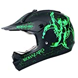 Motocross Youth Kids Helmet Motorcycle Helmet Dirt Bike Motocross ATV Helmet, DOT Approved Offroad Street Helmet(Biohazard Green,XL)