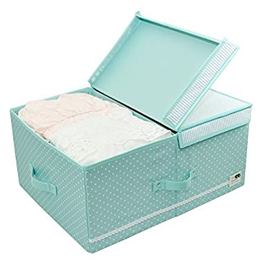 iwill CREATE PRO Collapsible Clothes Organizer Basket Bins with Over-sized Space, Removable Dividers, Handles and Cover for Under Bed Storage, 60l (Mint Green)