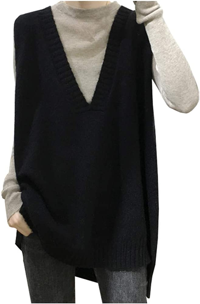 Ladyful Women's Vintage V Neck Knitted Sweater Vest Baggy Fit Sleeveless Pullover Top
