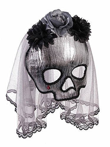 Forum Novelties Party Supplies Unisex-Adults Ghostly Spirit Half Mask W/Vei, Black, Standard, Multi