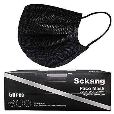 sckang Face Mask Disposable 3-Ply Face Masks of 50 Pcs Black from sckang