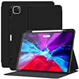Supveco iPad Pro 12.9 Case 2020, iPad Pro 12.9 Cover with Pencil Holder, Shockproof Cases Support Apple Pencil Charging Auto Sleep/Wake, for iPad Pro 12.9 Inch 4th Generation 2020&2018 (Black)