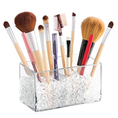 InterDesign Bella cosmetica-organizer met parels voor make-upkwasten, lippenstift, mascara, eyeliner, 7,6 cm, vierkant, glas