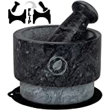 Mortar and Pestle Set Marble - 5.5 Inch, 17 Oz - Unique Double Sided - Pestle and Mortar Bowl Solid Stone Grinder - Guacamole Mortar and Pestle Large - INCLUDED: Silicone Lid/Mat and Spoon…