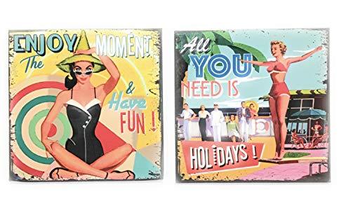 udc Lot de 2 Magnets Aimant pour Le frigo Vintage/Fridge Magnet Vintage 8x8cm Enjoy The Moment and Have Fun - All You Need is Holidays