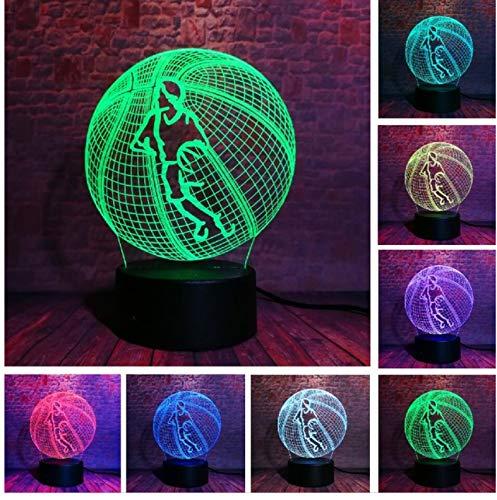 Lámpara de ilusión óptica Increíble Aficionados a los deportes en 3D Favor de mano Top Baloncesto Voleibol Tiro Fútbol 7 Color Luz nocturna LED B