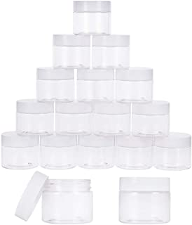 PandaHall Elite 18 Pieces 2 Oz Empty Clear Plastic Sample Containers Slime Storage Favor Jars Round Cosmetic Travel Pot wi...