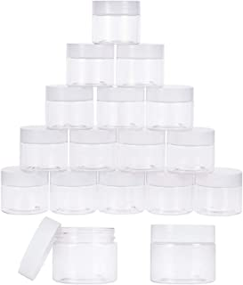PH PandaHall 18 Pieces 2 Oz Empty Clear Plastic Sample Containers Slime Storage Favor Jars Round Cosmetic Travel Pot with White Screw Cap Lids for Beads Jewelry Make Up Nails Art Cream Powders