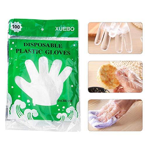 jaspenybow 100PCS Einweg-PE-Handschuhe, Haushaltsschutzhandschuhe aus Kunststoff, Backhandschuhe für die Catering-Küche, transparente Hygieneschutzhandschuhe für die Innen- und Außenreinigung