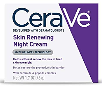 CeraVe Skin Renewing Night Cream | Niacinamide Peptide Complex and Hyaluronic Acid Moisturizer for Face | 1.7 Ounce