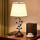 USB Table Lamp Bedside Lamp with Dual USB Charging Ports, Kakanuo 26'' Traditional Nightstand Lamp Desk Lamp Large Retro Table Lamp for Bedroom and Living Room