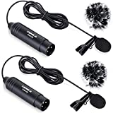 Comica XLR Microphone CVM-V02O 2 Pack 14.76 fts Phantom Power Omni-directional Lavalier Lapel