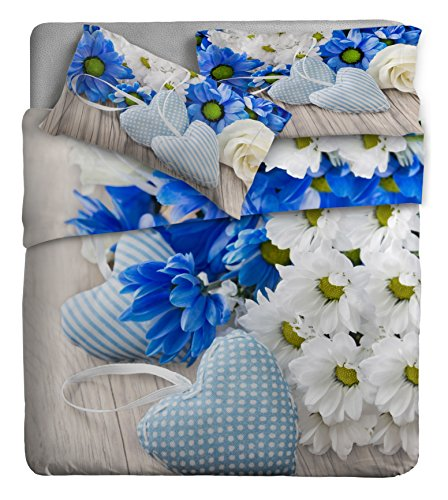 Ipersan Disegno Margherite Parure Lenzuola Fotografico Piazzato, 100% Cotone, Blu, Matrimoniale, 260x300x0.5 cm, 3 Unità