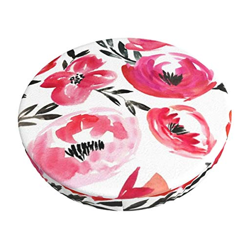 Anti-Slip Round Chairs Cover Stool Covers,Pink Summer Tropics Watercolor Floral Super Breathable Stretch Chair Seat Bar Soft Stool Cover Seat Cushion Slipcovers fits for 13 inch Round Lift Chair Stool