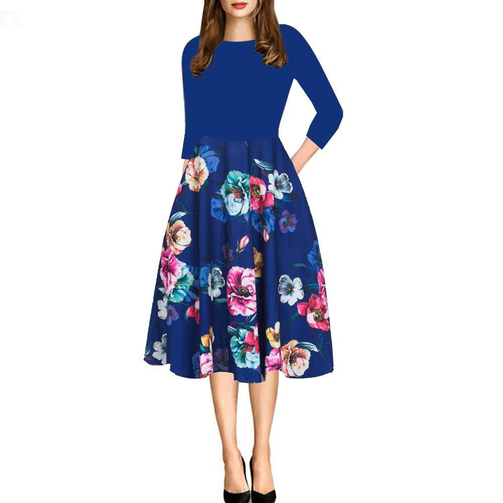 yishiwei 女式口袋复古拼接花朵休闲派对喇叭连衣裙