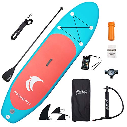 small size Includes inflatable FAYEAN paddle board, 10'30 ″ 6 ″ round board pump, paddle, backpack, leash, fins, universal waterproof case