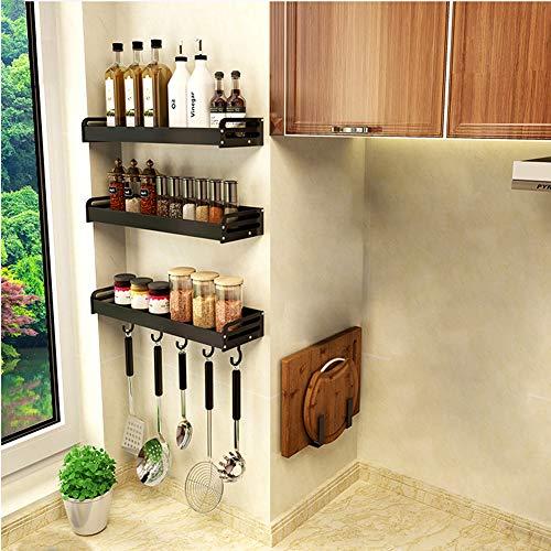 YunNasi Organizador de Especias Cocina Una Unidad Estantería para Baño de Pared Adhesivo con 5 Gancho para Botes de Especiero, Negro mate (A, 50cm)