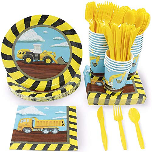 Juvale Construction Party Supplies, Disposable Dinnerware Set (Serves 24, 144 Pieces)